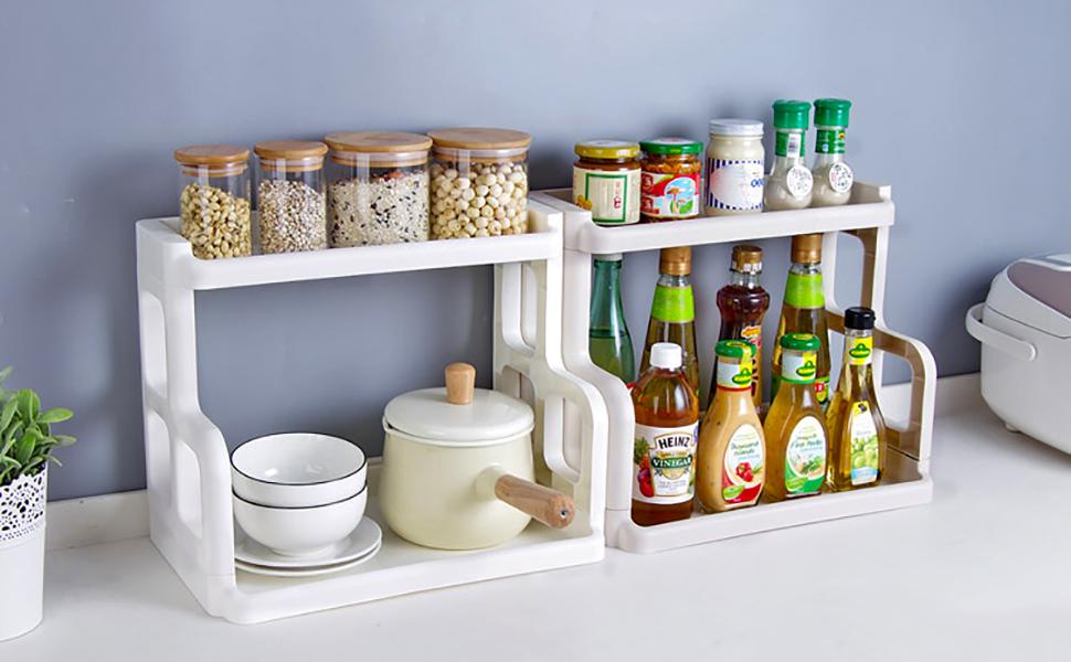 Amazoncom Spice Rack Tier Plastic Countertop Storage Shelves - Plastic spice racks for kitchen cabinets