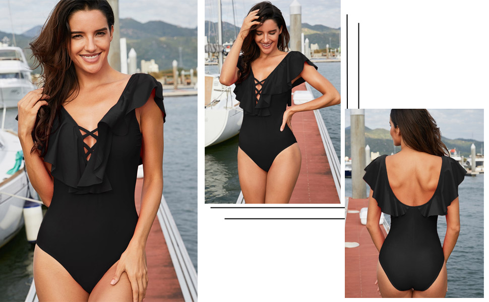 999228d3f0 Womens Front Lace Up Monokini Swimwear Sexy V Neck Backless Ruffle One  Piece Swimsuit Bathing Suits Black Perfect for vacations