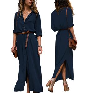 f9a5e681296 Lovezesent Women Long Sleeve Button Down Split Casual Maxi Shirt ...