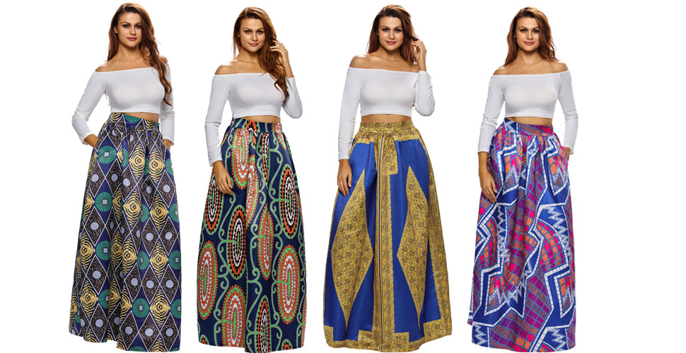 9a12e0104ba Women s African Printed Pleated Maxi Skirt High Waist A Line Dress ...