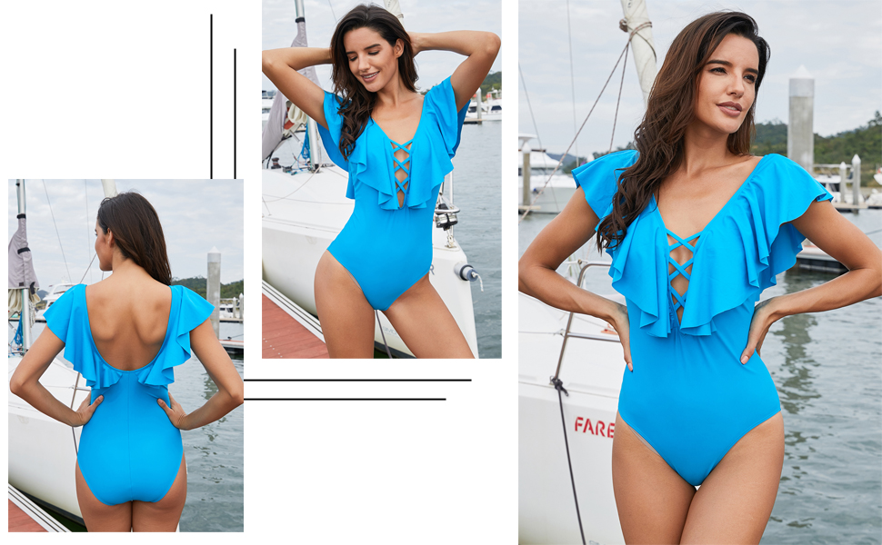 990f243b2f Womens Sexy V Neck Crisscross Front One Piece Monokini Swimsuit Fashion  Ruffle Swimwear Padded Bathing Suits Sky Blue Brand Lovezesent
