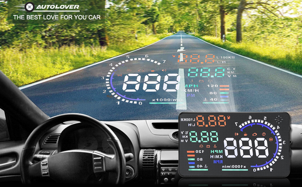 Amazoncom AUTOLOVER A Inch OBD II Car Windshield HUD Head Up - Car display