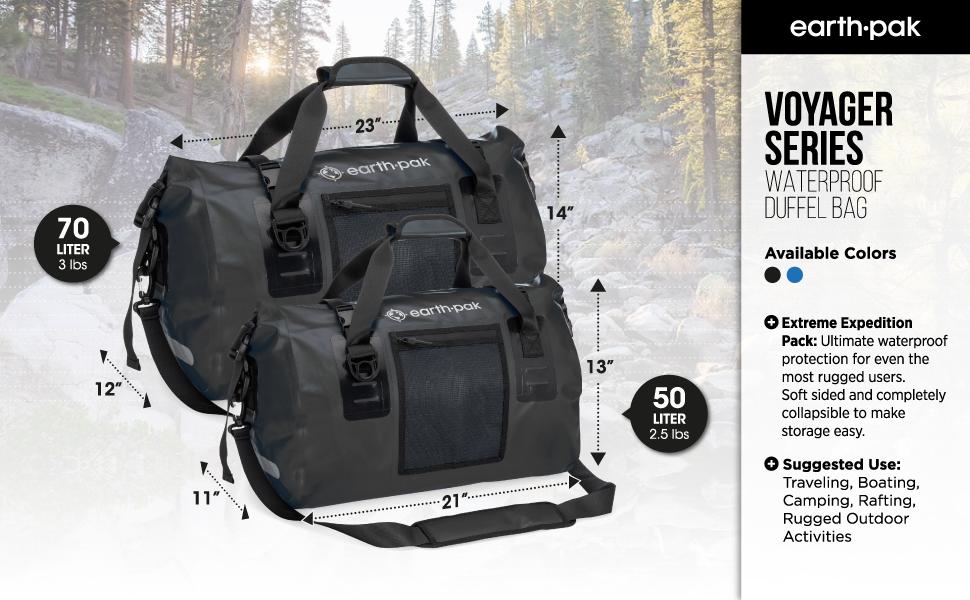 waterproof duffel bag, weekender bag, overnight bag, duffle bag