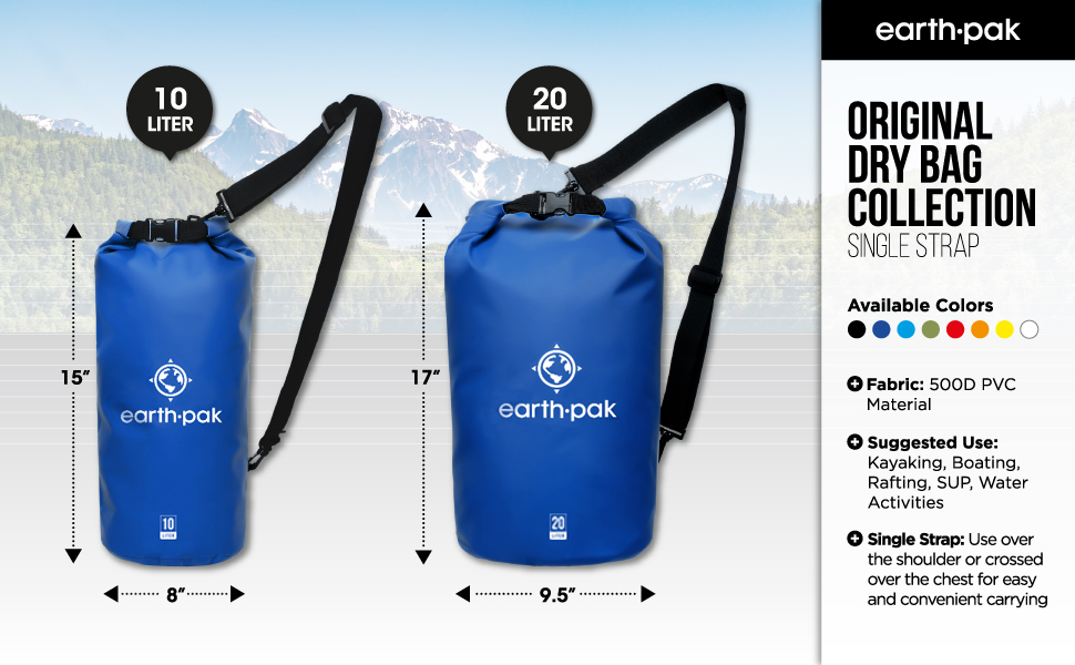 earth pak, dry bags, waterproof bags