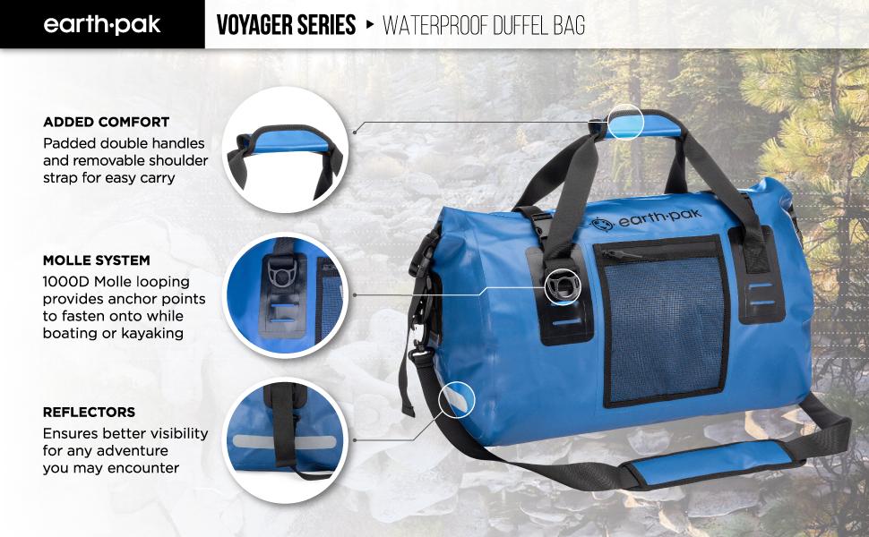 waterproof duffel bag, overnight bag, weekender bag, duffle bag