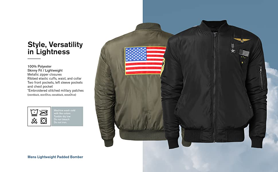 f86c6ed36 Mens Padded Bomber Jacket Lightweight Skinny Fit Patches Parachute Outwear