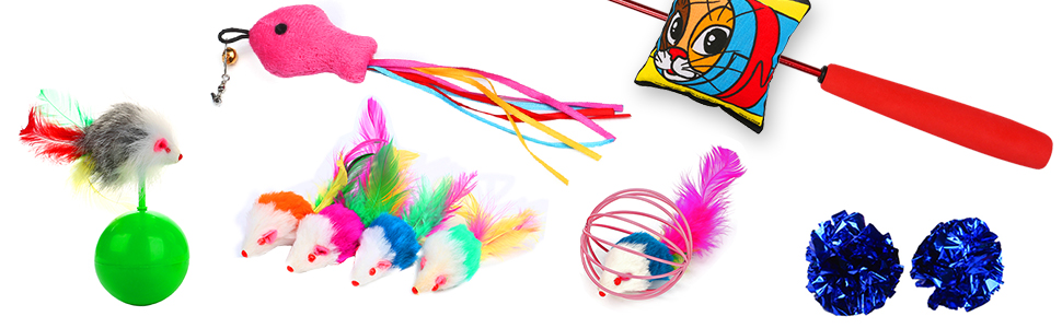 upsimples Cat Toys Including Cat Teaser Wand Interactive Feather Toy Fluffy Mouse Mylar Crinkle Balls Catnip Pillow for Kitten Kitty 12