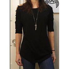womens black hollow out sleeve blouse