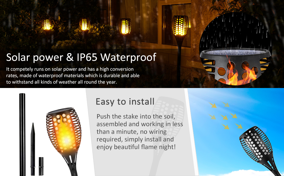 Solar Torch Lights,Dancing Flame Lighting 96 LED Flickering Tiki Torches  Waterproof Wireless Auto On/Off Outdoor Light for Patio Garden Path Yard