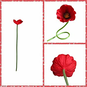 Red 48cm Poppy 3-compartment branched Poppy Flowers Turks Poppy Gossip Poppy Artificial