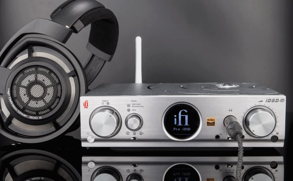 iFi audio Pro iDSD with a pair of headphones