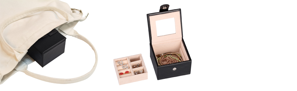 The small jewelry box is specially designed for travel.