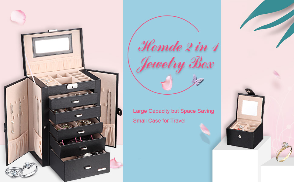 Homde 2 in 1 Huge Jewelry Box