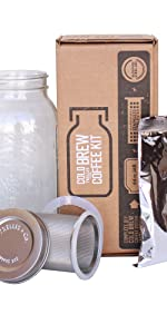 trellis cold brew coffee maker kit mason jar stainlness steel