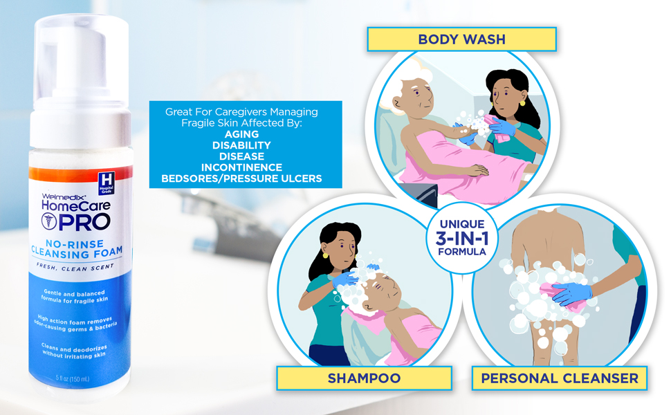 no rinse cleansing foam body wash moisturizing perineal personal cleanser adult diaper fragile skin