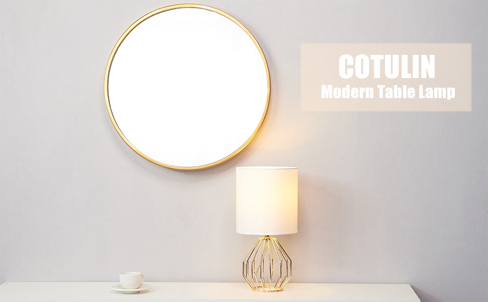 COTULIN Modern Style Gloden Hollowed Out Base Living Room Bedroom Small  Table Lamp