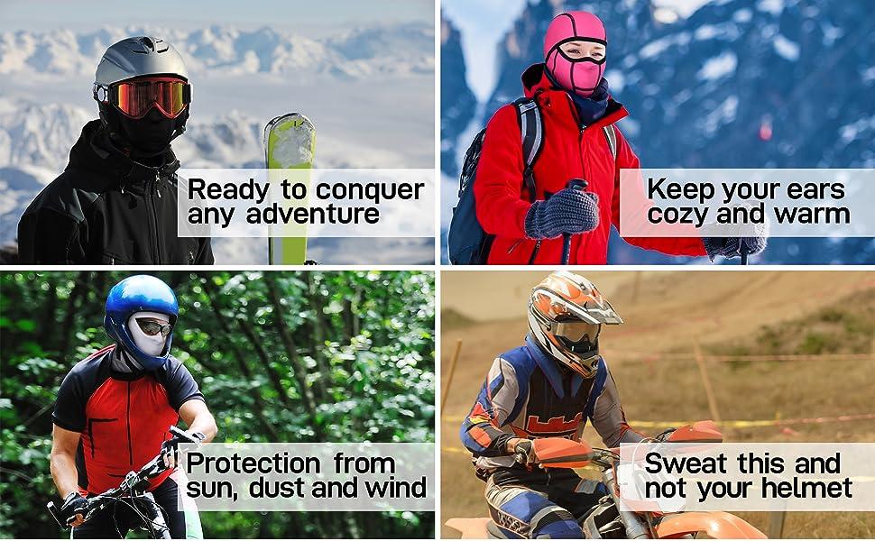 unisex hinged balaclava open face helmet liner beanie running hiking walking snowboarding neoprene