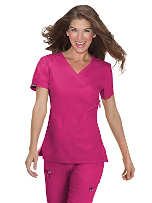 model wearing koi Basics 315 koi Women's Philosophy Scrub Top