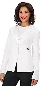 model wearing koi Lab Coats 425 Women's Lab Coat Blazer