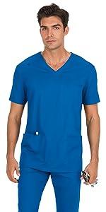 model wearing Men's Stretch Tyler V-Neck Scrub Top