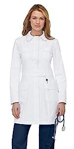 model wearing koi Lab Coats 408 Women's Lab Coat Button Front
