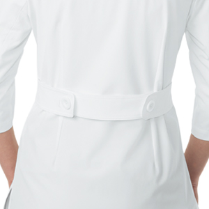 close up of koi labcoats 446 koi Amber Lab Coat featuring adjustable belt in back