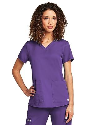 Barco Grey's Anatomy 71166 Women's Two Pocket V-neck Shirred Scrub Top