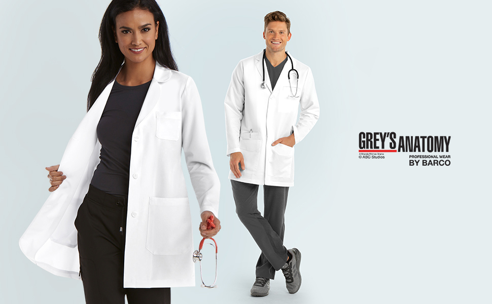 Greys Anatomy 4456 Notch Collar Lab Coat