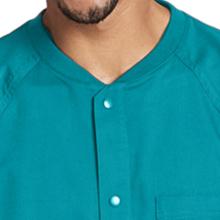 Rib collar with snap closure shown on Grey's Anatomy 0406 Men's Raglan Warm Up Scrub Jacket