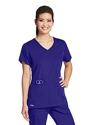 Model wearing Barco Grey's Anatomy 41423 Women's V-Neck Scrub Top