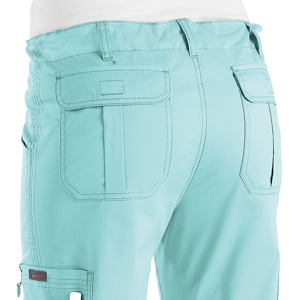 close up of koi stretch 710 koi women's lindsey Scrub pant featuring two back pockets
