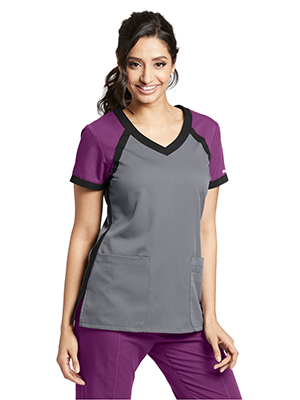 Amazon Greys Anatomy Active 41435 Womens Tri Color V Neck