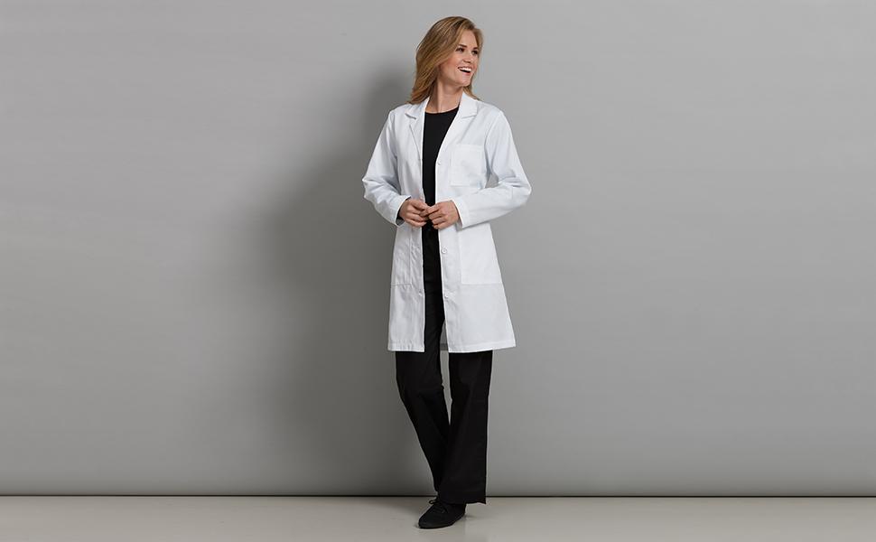 c87d456f4bd Med Couture Lab Wear 8608 Women's Lab Coat Doctor Length Medical Healthcare  Uniforms Fashion