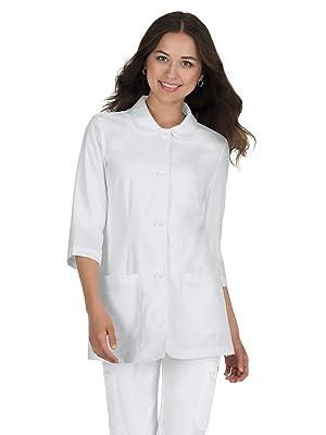 model wearing koi labcoats 446 koi Amber Lab Coat
