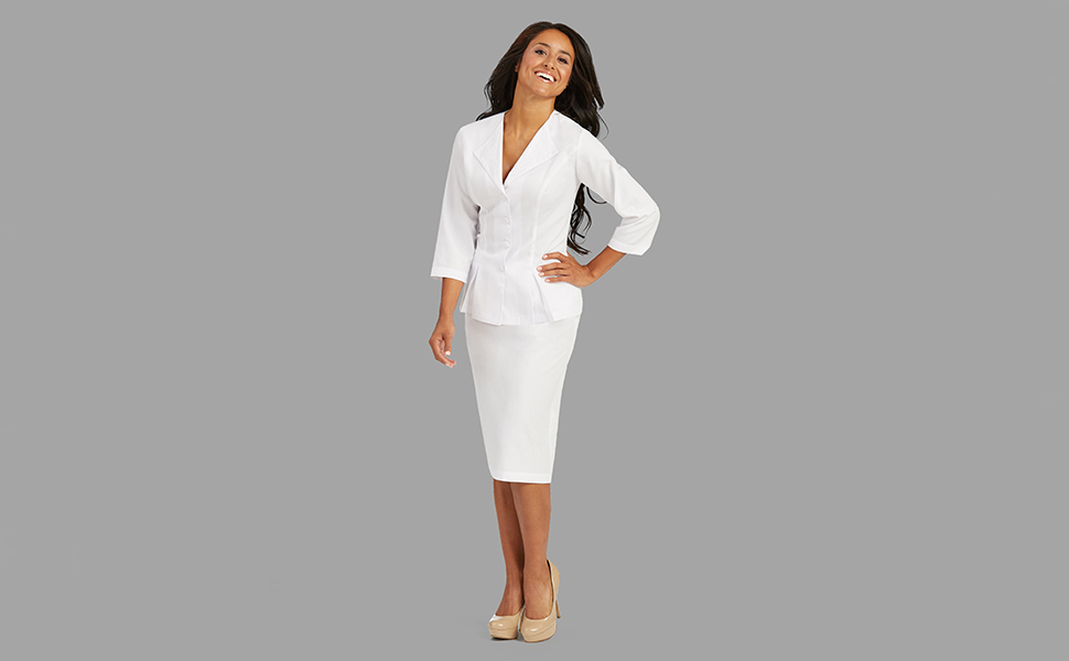 eade43c369d Med Couture Lab Wear 1203 Women s Lab Dress Jacket Medical Healthcare  Uniforms Fashion