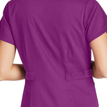 Close-up of tab back detail on Barco Grey's Anatomy 4153 Women's Mock Wrap Scrub Top