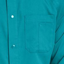 Multi-compartment chest pocket shown on Grey's Anatomy 0406 Men's Raglan Warm Up Scrub Jacket