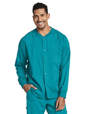 Model wearing Grey's Anatomy 0406 Men's Raglan Warm Up Scrub Jacket