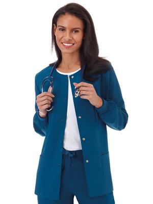 White Swan Fundamentals 14740 Women's Scrub Jacket Snap Front Medical Healthcare Uniforms Fashion
