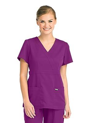 Model wearing Barco Grey's Anatomy 4153 Women's Mock Wrap Scrub Top