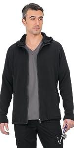 model wearing koi Lite 441 Unisex Scrub Jacket Zip Front