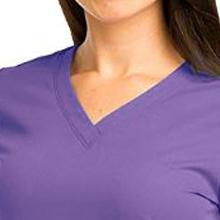 Close-up of v-neckline on Barco Grey's Anatomy 71166 Women's Shirred Scrub Top