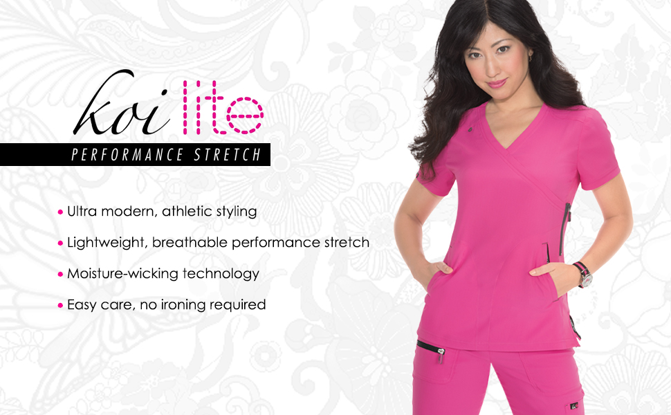 banner image with koi performance stretch logo and model wearing koi performance stretch scrubs