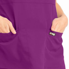 Close-up of front patch pockets Barco Grey's Anatomy 4153 Women's Mock Wrap Scrub Top