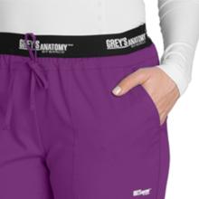 Close-up of drawstring front ties and angled front pockets of Greys Anatomy Active 4275 Scrub Pant