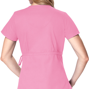 close up of koi classics 137 women's katelyn scrub top featuring adjustable front-tie waist