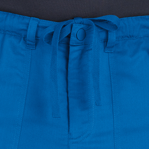 close up of koi stretch 604 koi men's Ryan Scrub Pant featuring elastic waist with hidden drawstring