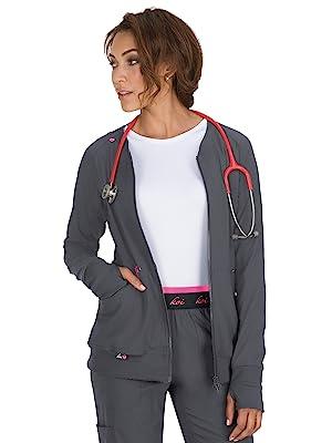 model wearing koi Lite 445 Women's Clarity Scrub Jacket