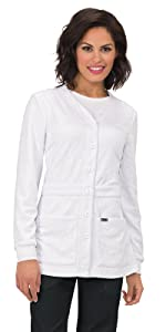 model wearing koi Lab Coats 440 Women's Lab Coat Sweater
