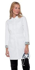 model wearing koi Lab Coats 419 Women's Lab Coat Button Front